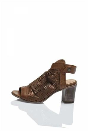 Bueno Kahverengi Simli Topuklu Şık Ayakkabı