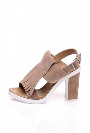 Bueno Gri Püsküllü Süet Deri Kadın Sandalet