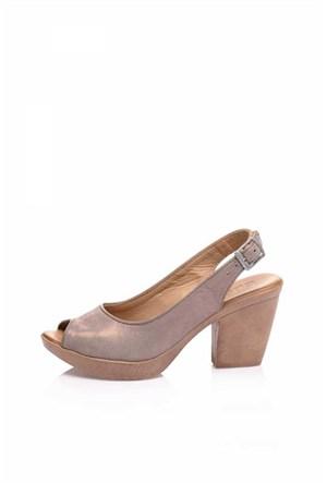 Bueno Pudra Simli Deri Dolgu Topuk Kadın Ayakkabı