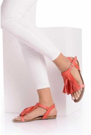 Bueno Kırmızı Püsküllü Hakiki Deri Kadın Sandalet