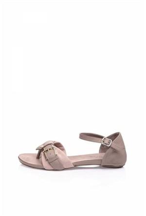 Bueno Pudra Tokalı Deri Düz Kadın Sandalet