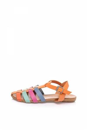 Bueno Renkli Rahat Deri Düz Kadın Sandalet