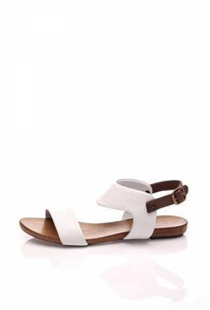 Bueno Beyaz Günlük Deri Sandalet