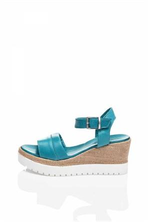 Bueno Mavi Kalın Topuk Hakiki Deri Sandalet