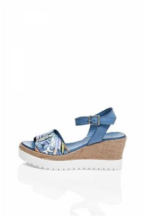 Bueno Mavi Baskılı Kalın Topuk Deri Sandalet