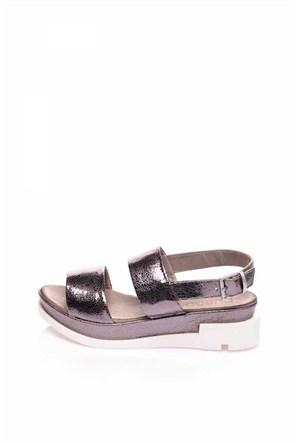 Bueno Gümüş Deri Dolgu Topuk Kadın Sandalet