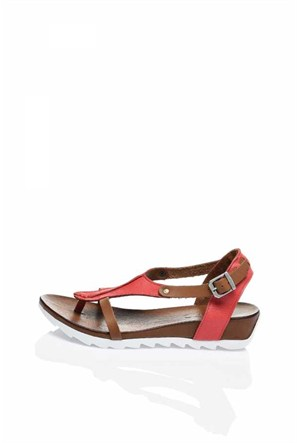 Bueno Kırmızı Parmak Arası Rahat Taban Deri Sandalet