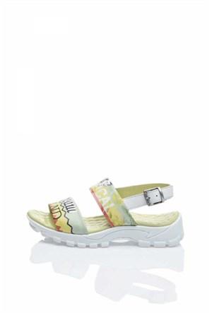 Bueno Beyaz Rahat Baskılı Deri Kadın Sandalet