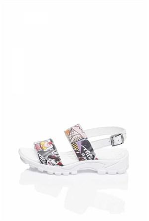 Bueno Beyaz Baskılı Deri Kadın Sandalet