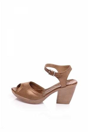 Bueno Taba Simli Deri Topuklu Kadın Sandalet