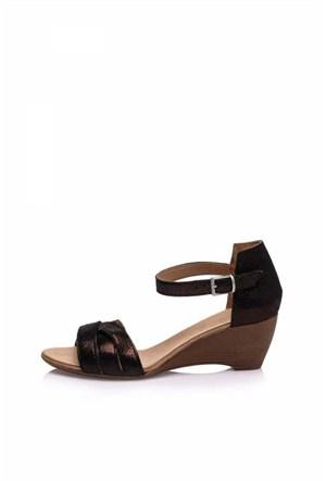 Bueno Siyah Simli Bilekten Deri Topuklu Kadın Sandalet