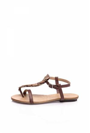 Bueno Kahverengi Deri Detay Kadın Sandalet
