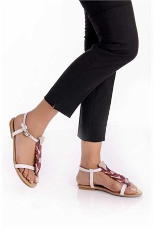 Bueno Beyaz Deri Kadın Düz Sandalet