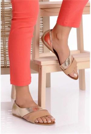 Bueno Gümüş Taba Düz Deri Kadın Sandalet