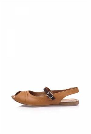 Bueno Kahverengi Günlük Hakiki Deri Kadın Sandalet