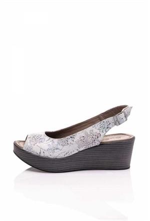 Bueno Beyaz Çiçekli Dolgu Topuk Kadın Ayakkabı