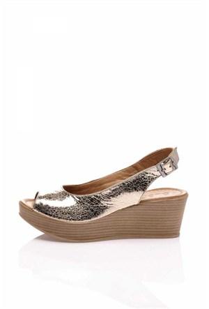 Bueno Altın Dolgu Topuk Deri Ayakkabı