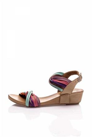 Bueno Renkli Bej Deri Sandalet