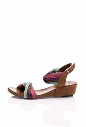 Bueno Renkli Kahverengi Deri Sandalet