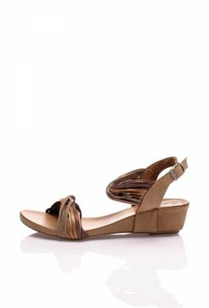Bueno Kahverengi Renkli Deri Sandalet