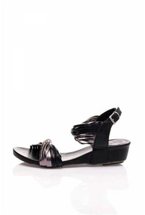 Bueno Siyah Gümüş Simli Deri Sandalet