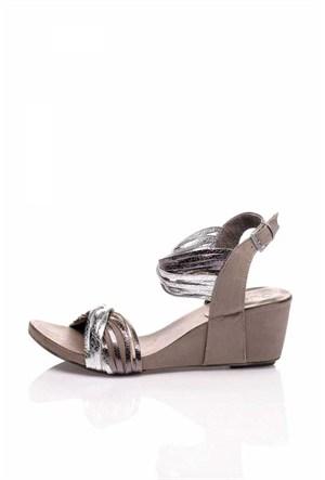 Bueno Gümüş Simli Bilekten Deri Kadın Sandalet