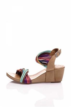 Bueno Renkli Açık Kahverengi Deri Sandalet