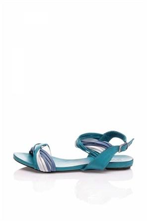Bueno Mavi Bilekten Bağlı Kadın Sandalet