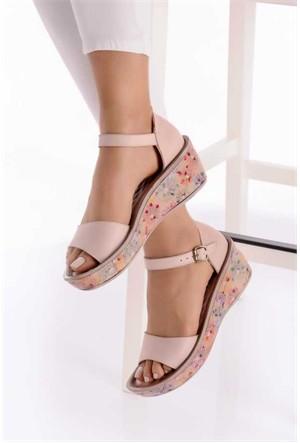 Camore Vizon Baskılı Deri Rahat Kadın Sandalet