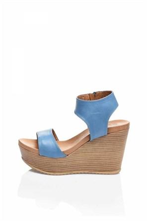 Bueno Mavi Dolgu Topuk Kadın Ayakkabı