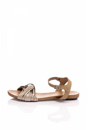 Bueno Pudra Kahverengi Simli Deri Düz Kadın Sandalet