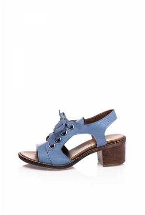 Bueno Mavi Bağcıklı Deri Sandalet