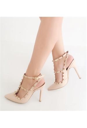 Mıo Gusto Ten Rengi Aksesuarlı Arkası Açık Stiletto Ayakkabı