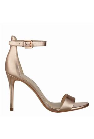 Nine West Nwmana Pembe Altın Gerçek Deri Topuklu Sandalet