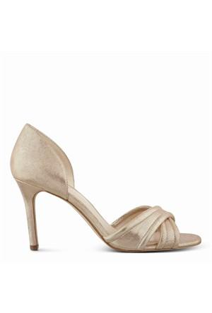 Nine West Nwfortunata Altın Gerçek Deri Burnu Açık Ayakkabı