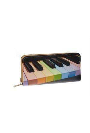 Eos Deri Görünümlü Piyano Baskılı Cüzdan