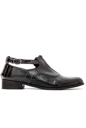 Mecrea Exclusive Rashna Siyah Rugan Tasarım Loafer Ayakkabı