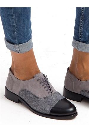 Mecrea Exclusive Henry Siyah Gri Keçe Kombin Loafer Ayakkabı