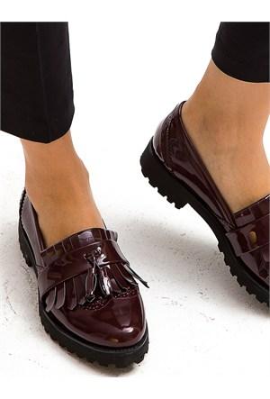 Mecrea Exclusive Paol Maxi Bordo Püsküllü Loafer Ayakkabı
