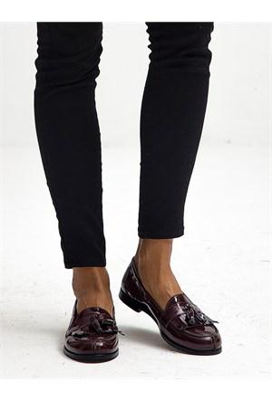 Mecrea Exclusive Jack Bordo Rugan Püsküllü Loafer Ayakkabı