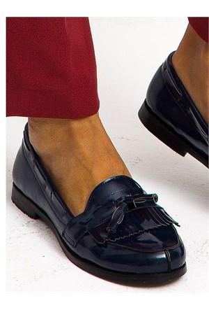 Mecrea Exclusive Jack Lacivert Rugan Püsküllü Loafer Ayakkabı
