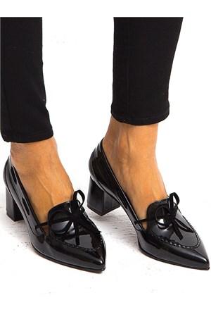 Mecrea Exclusive Tesia Siyah Rugan Loafer Stiletto