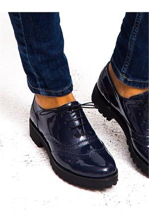 Mecrea Exclusive Jerry Lacivert Rugan Kalın Taban Loafer Ayakkabı