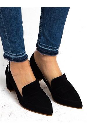 Mecrea Exclusive Wiley Siyah Süet Topuklu Ayakkabı