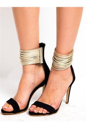 Mecrea Exclusive Vanessa Siyah Süet Topuklu Sandalet