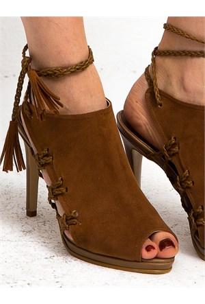 Mecrea Exclusive Daylin Taba Süet Topuklu Sandalet