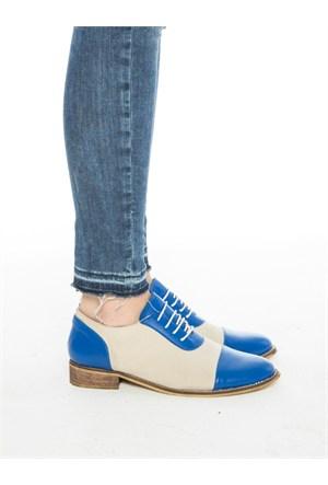 Mecrea Exclusive Mocca Mavi Bej Kombin Loafer Ayakkabı