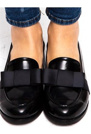 Mecrea Exclusive Coby Siyah Mat Rugan Fiyonklu Loafer Ayakkabı Babet