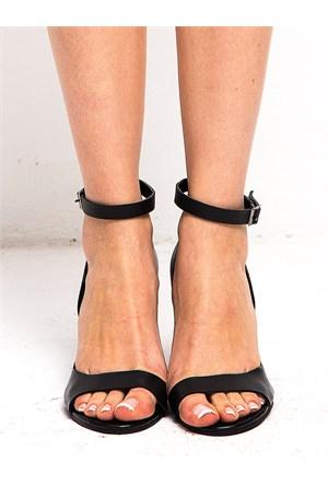 Mecrea Exclusive Dale Siyah Dekolte Topuklu Sandalet