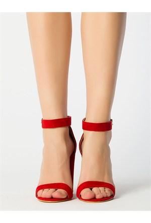 Mecrea Exclusive Roselyn Kırmızı Süet Kalın Topuklu Sandalet